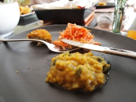 Hot lentil, refreshing carrot salad and we got cooked cabbage as well